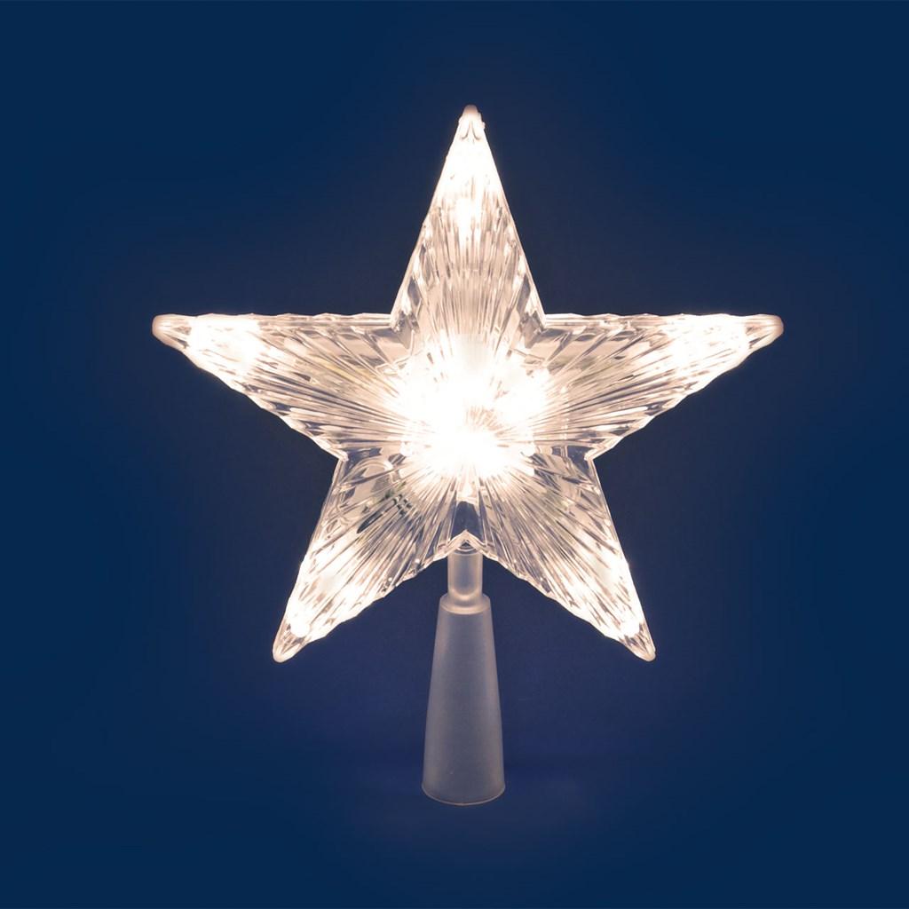 Puntale a Stella per albero di Natale - 10 Led a batteria - on-off Flashing - bianco classic