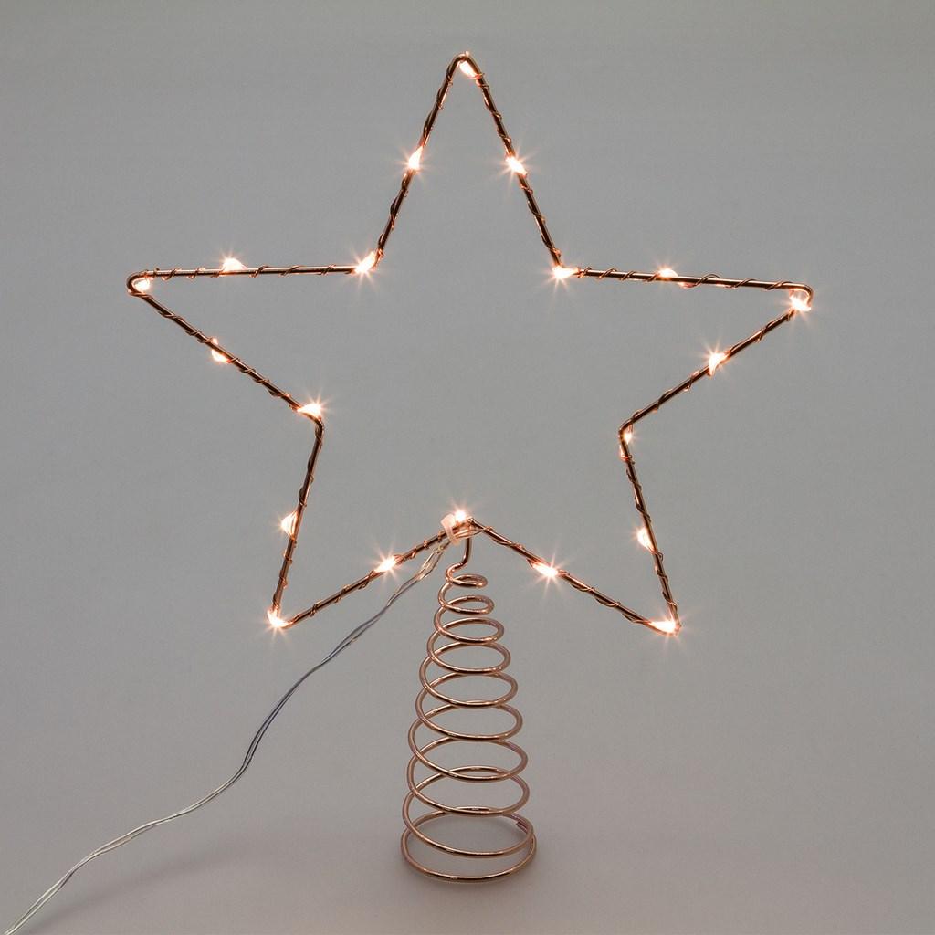 Puntale a stella per albero di natale 20 microled - luce fissa - bianco CLASSIC