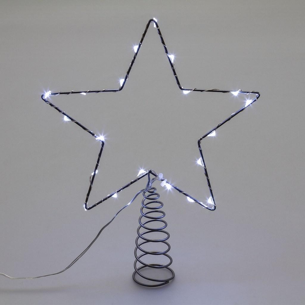Puntale a stella per albero di natale 20 microled - luce fissa - bianco GHIACCIO