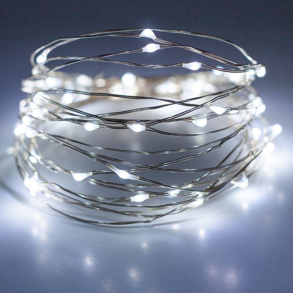 Catena di luci 37,5 m, 500 microled memory controller metal silver, bianco ghiaccio