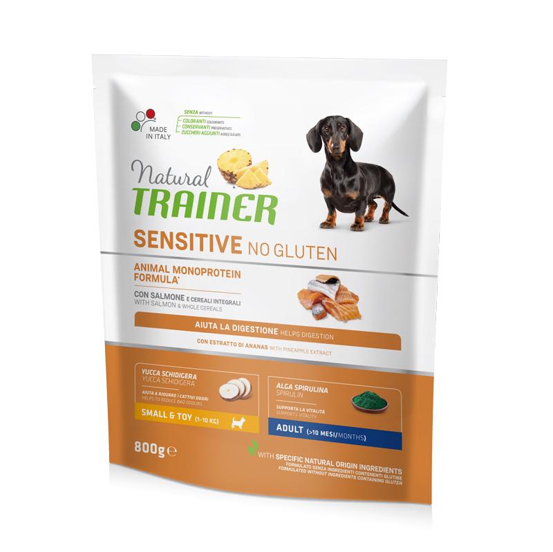 Natural Trainer Sensitive No Gluten Mini Adult con Salmone gr800