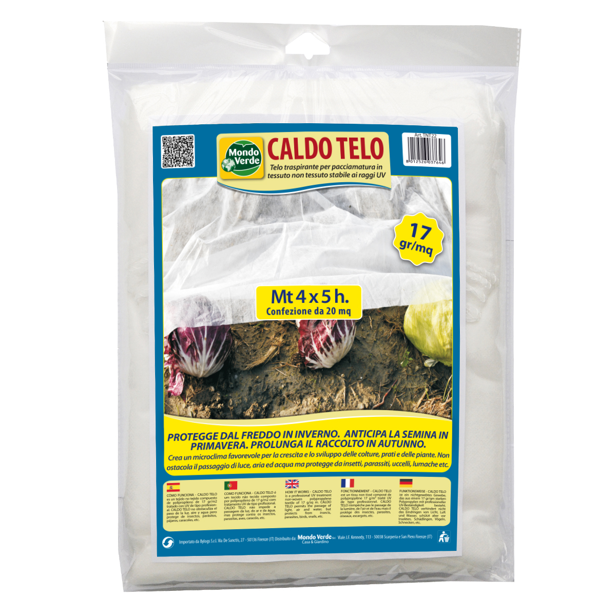 Caldo telo di tessuto non tessuto mt 4x5 per colture e piante 17gr mq - Telo tessuto non tessuto giardino ...