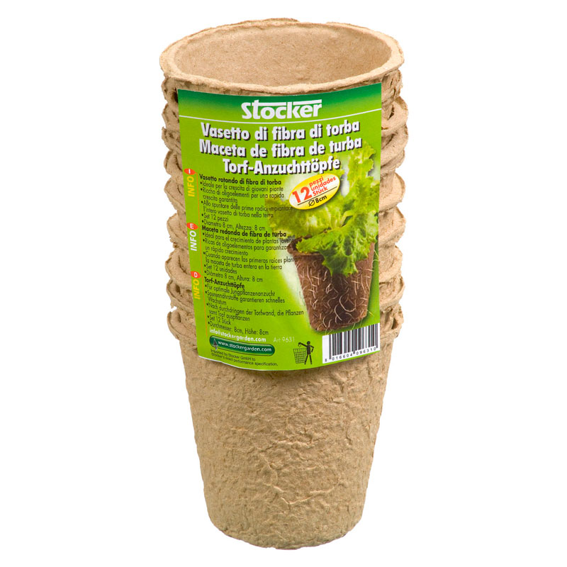 Vasetti in fibra di torba rotondi 8 cm