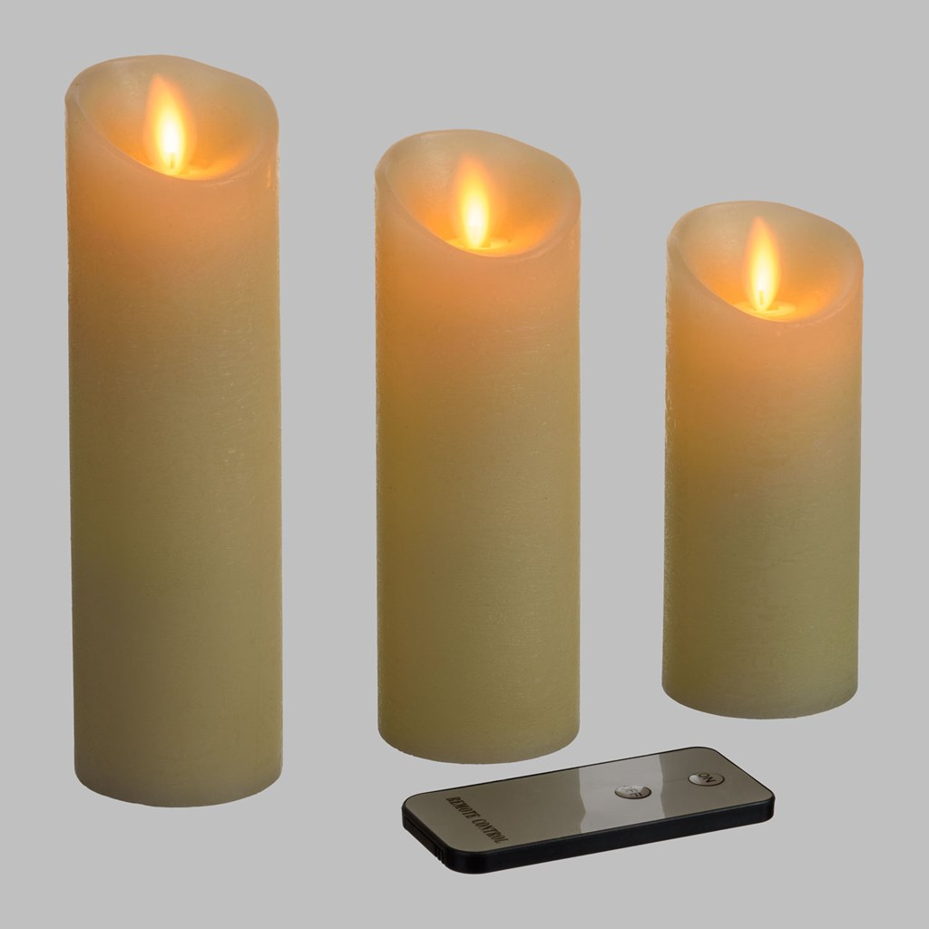 Set 3 Candele Ø 5,2 cm in cera ruvida con telecomando, moving flame, led bianco classic