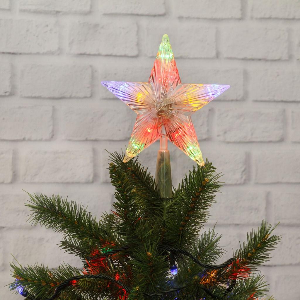 Puntale a Stella per albero di Natale - 10 Led a batteria - on-off Flashing - MULTICOLOR
