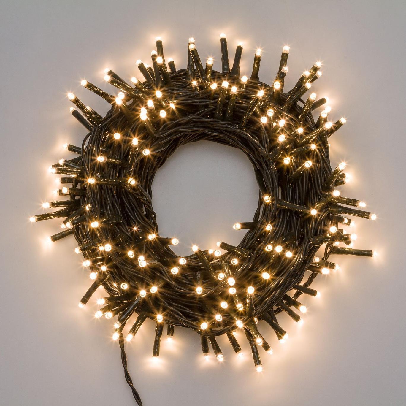 Catena luminosa luci natale 13mt, 180LED con 8 giochi di luce, bianco CALDO