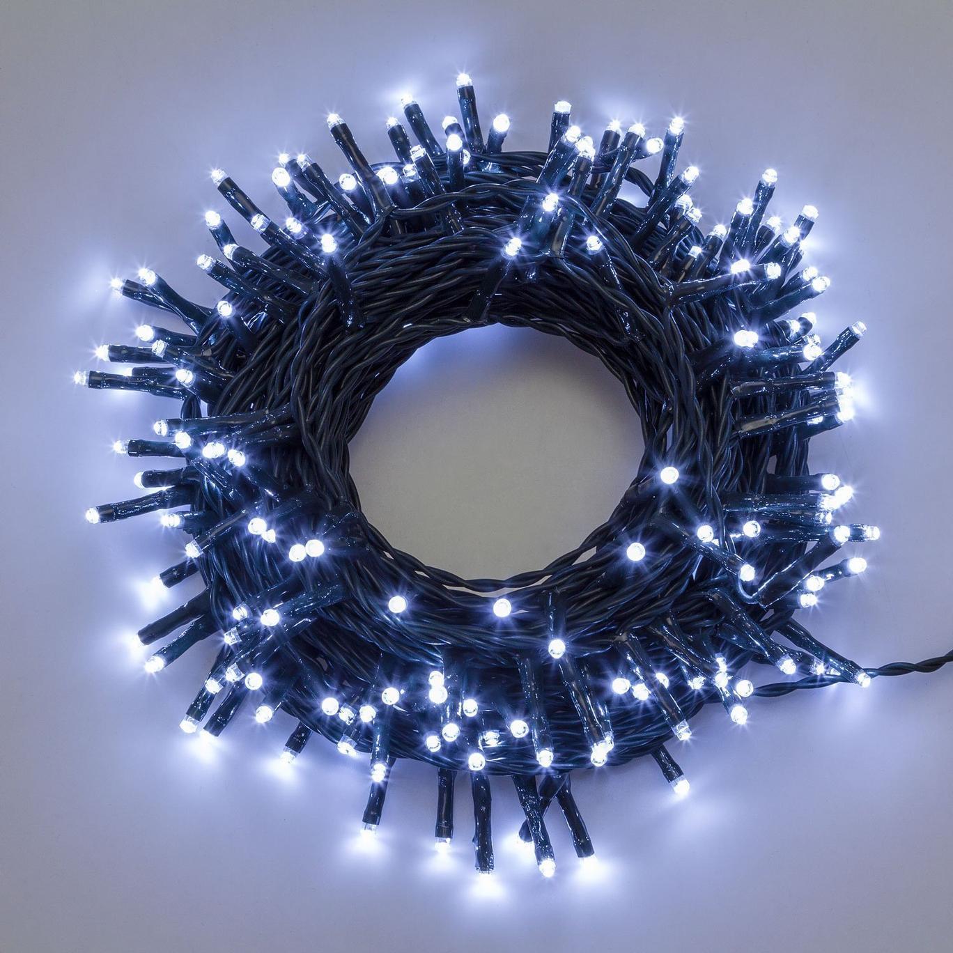 Catena luminosa luci natale 13mt, 180LED con 8 giochi di luce, bianco FREDDO