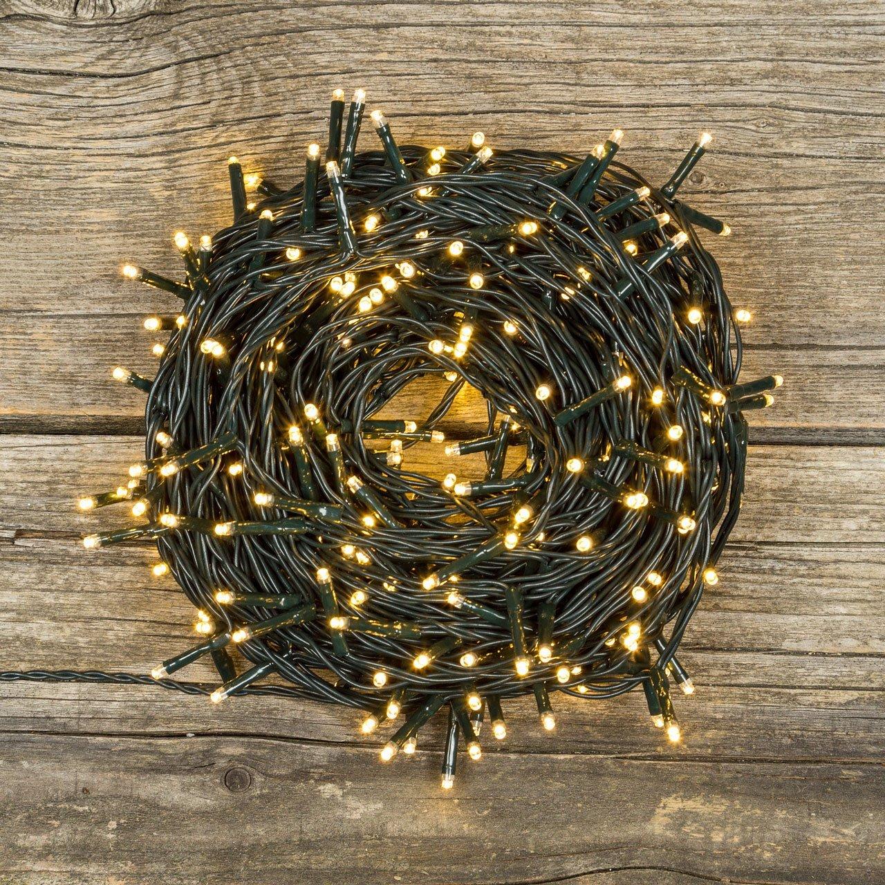 Luci di Natale 360 LED 25,70mt con giochi di luce - BIANCO CALDO