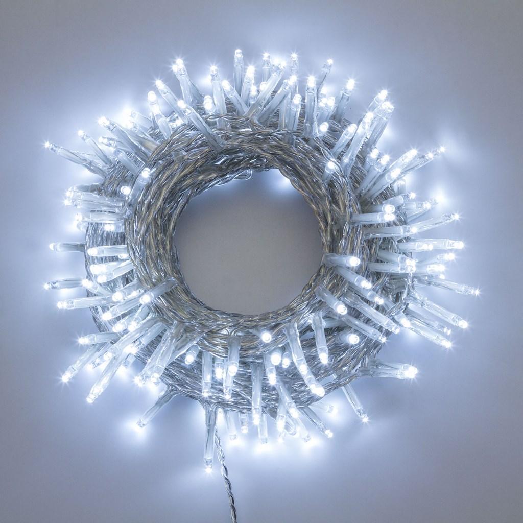 Luci di Natale 360 LED 25,70mt cavo trasparente con giochi di luce - BIANCO FREDDO