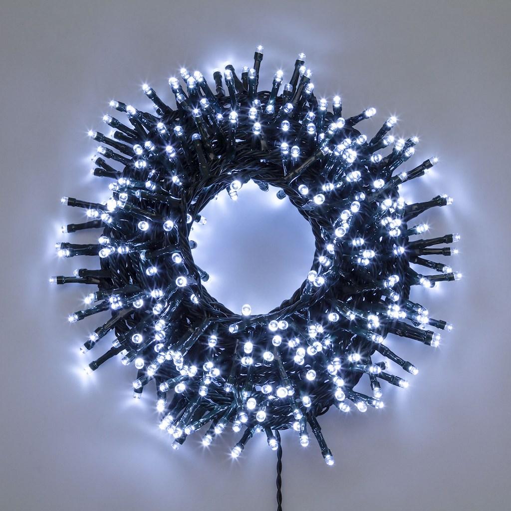 Catena di luci mini cluster 1500 led 30,5mt - bianco ghiaccio