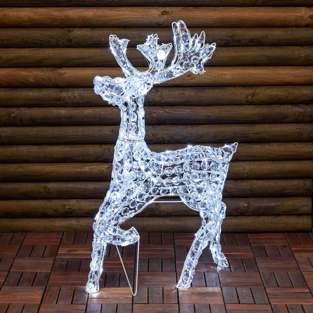 Renna galoppante luminosa, h85 cm, in cristalli di acrilico, 200 led, luce fissa, bianco freddo