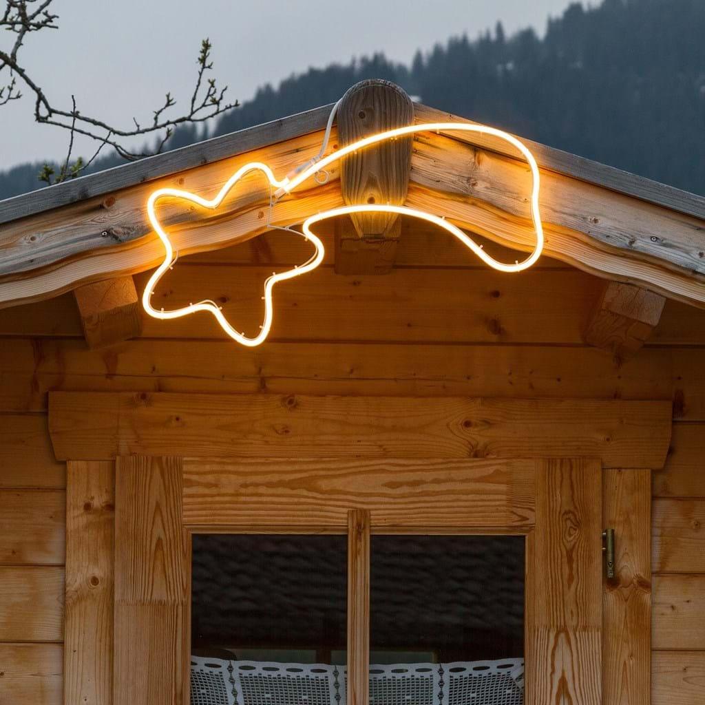 Stella cometa effetto neon 40 cm, led bianco caldo