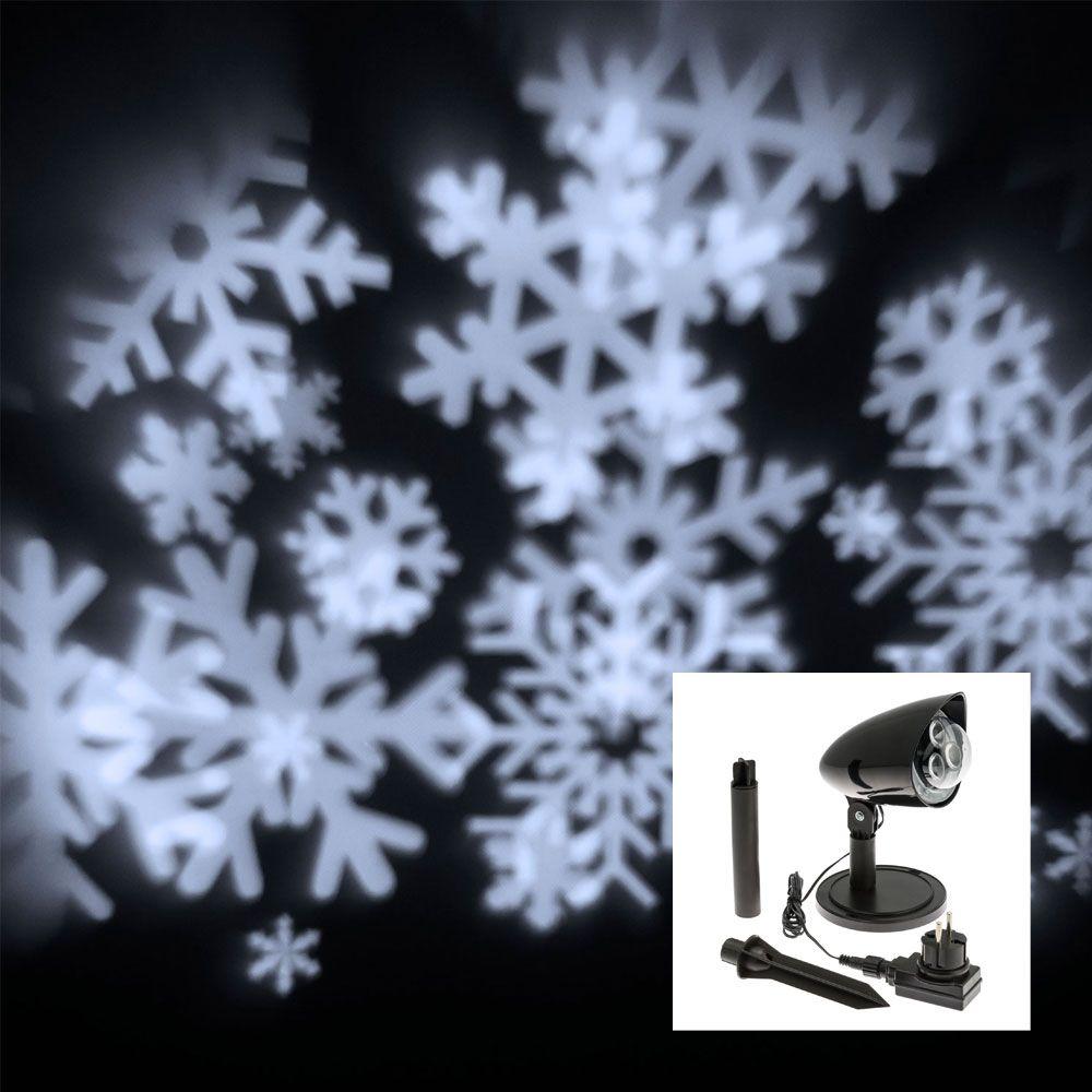Proiettore a led snowflakes fiocchi di neve a rotazione  - bianco ghiaccio