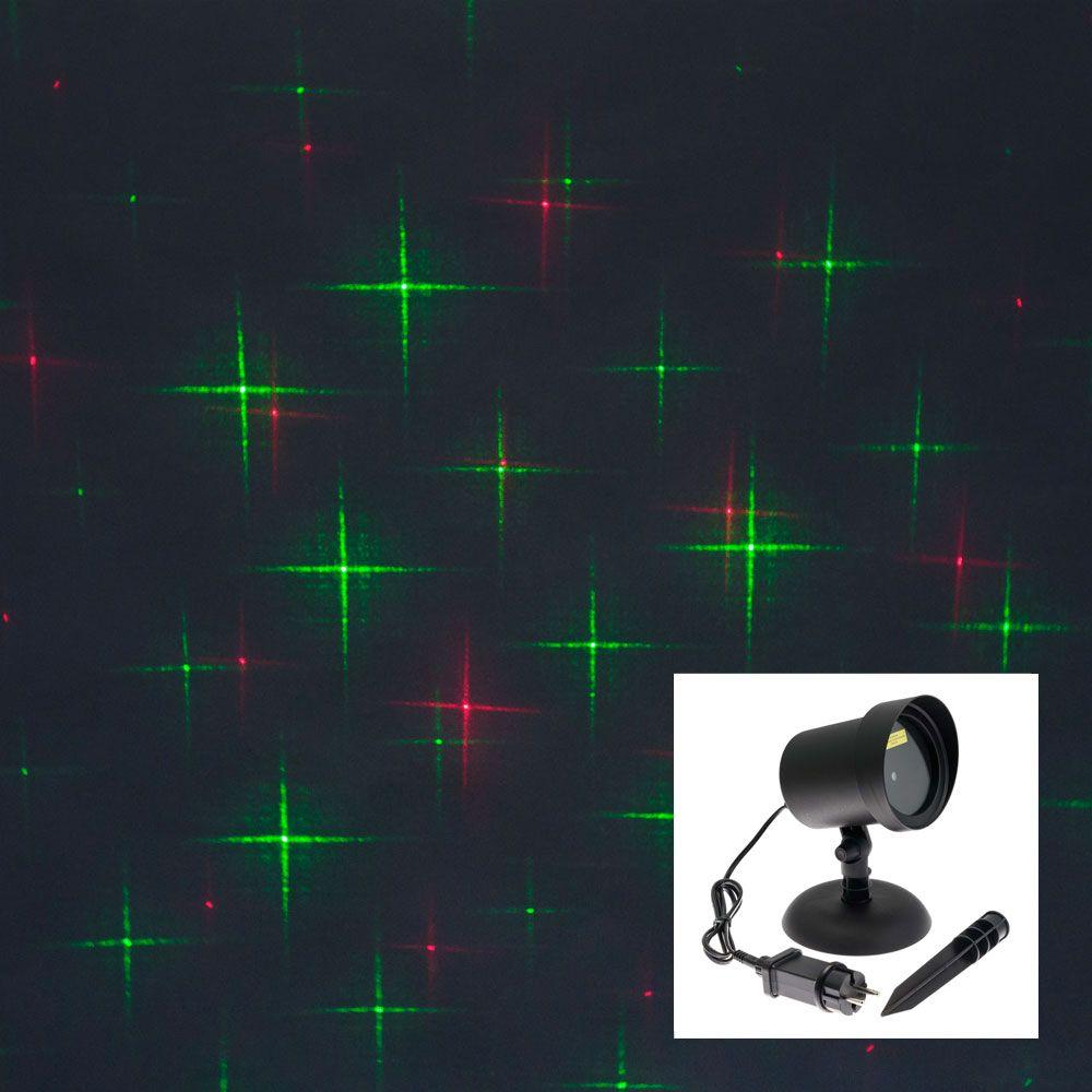 Proiettore laser punti e stelle - verde e rosso - effetto movimento