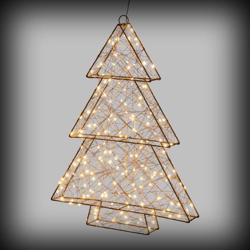 Albero di Natale 3D in metallo con 180 microled h60 cm flashled - bianco caldo