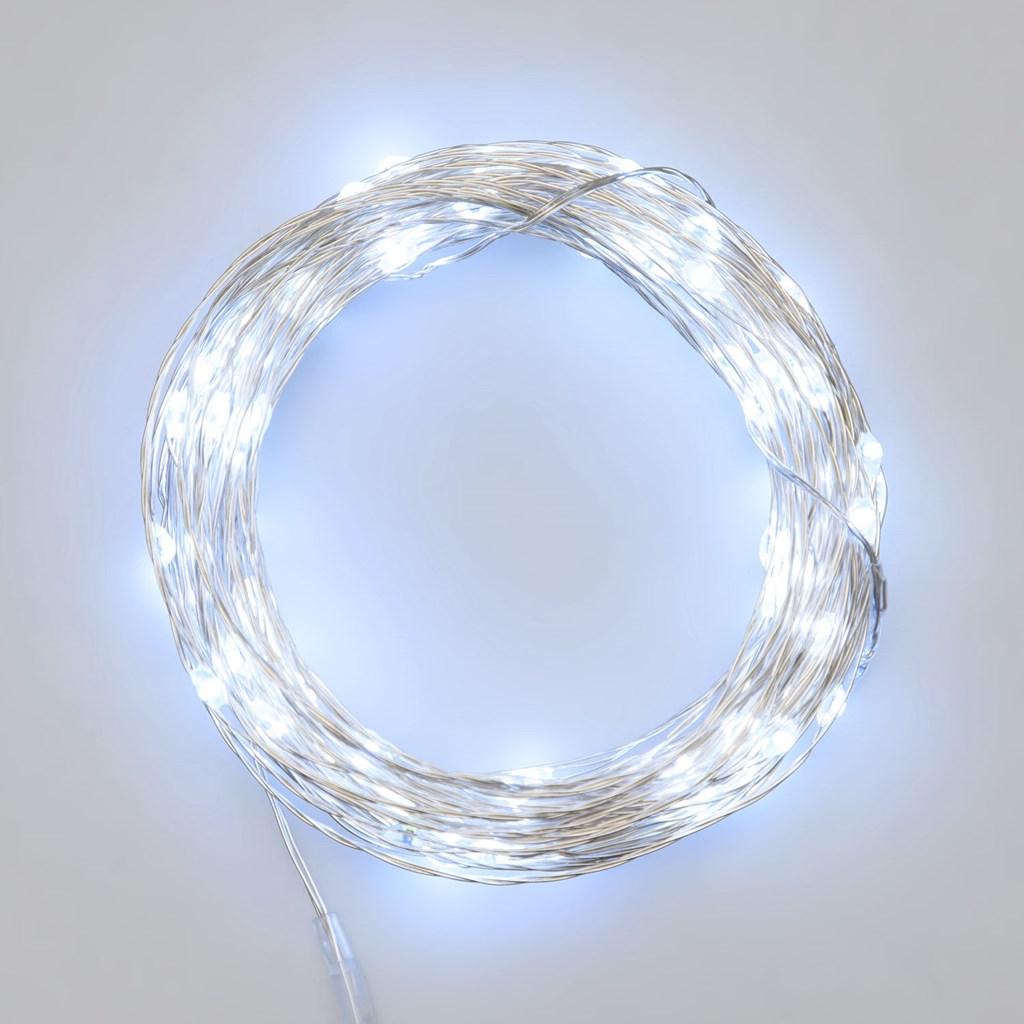 Catena luminosa 10m a batteria 100 micro led con telecomando IR timer, bianco ghiaccio