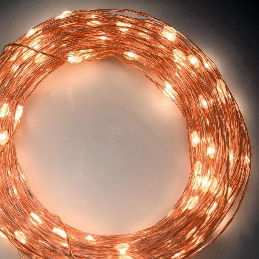Catena di luci 22,5 m, 300 microled memory controller metal copper, bianco classic