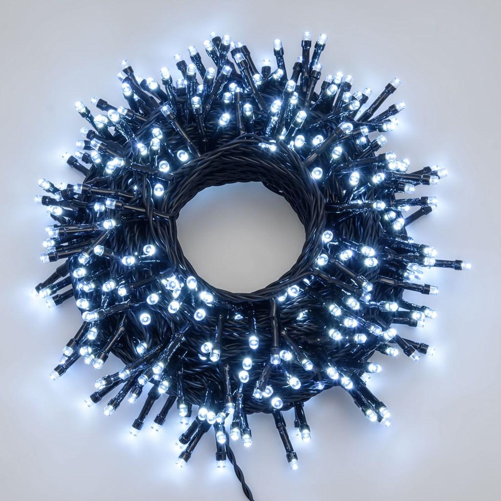 Catena luci led 21,5 m cavo nero, 300 led superbright, memory controller TIMER, bianco ghiaccio