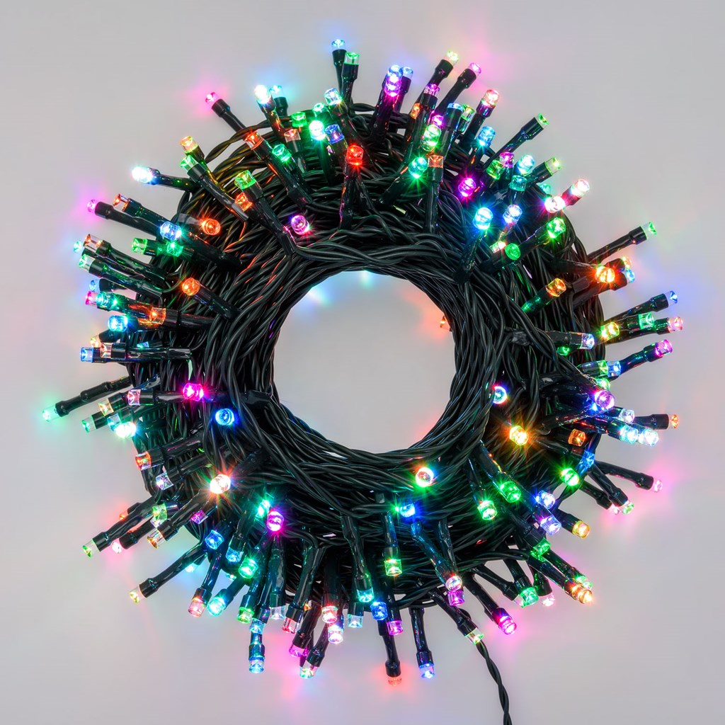 Catena luminosa 20 mt CRAZY RGB, 200 led, giochi di luce con effetto flash