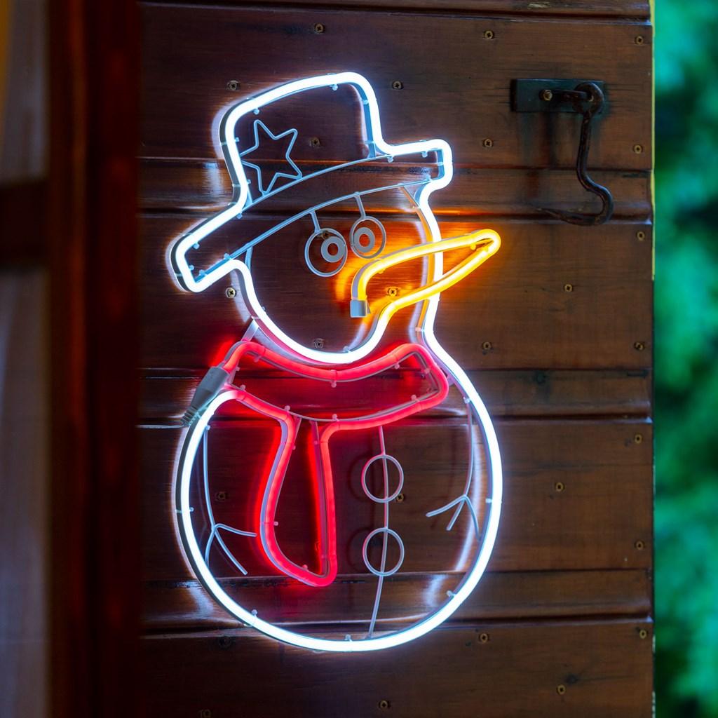 Pupazzo di neve LED luminoso 36xh58 cm, neon bifacciale, 288 led, bianco e rosso