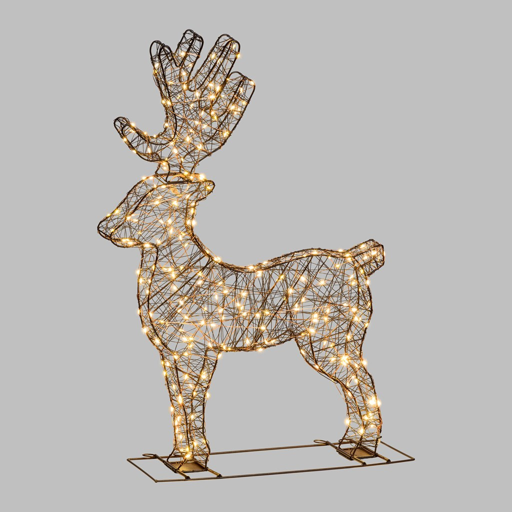 Renna luminosa 3D, 56xH 60cm - 260 microled flashled, bianco caldo