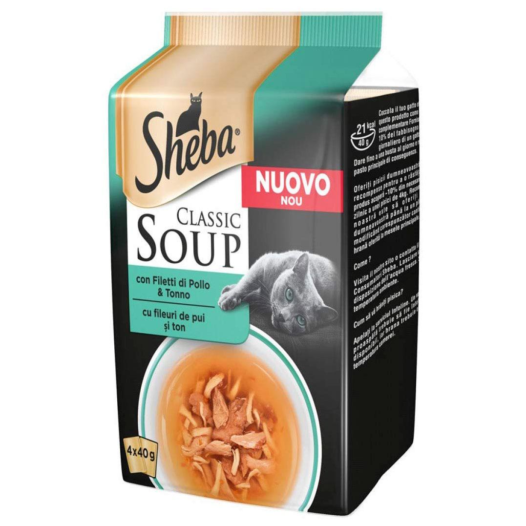 Sheba SOUP multipack buste 4x40gr -Filetti di Pollo e Tonno-