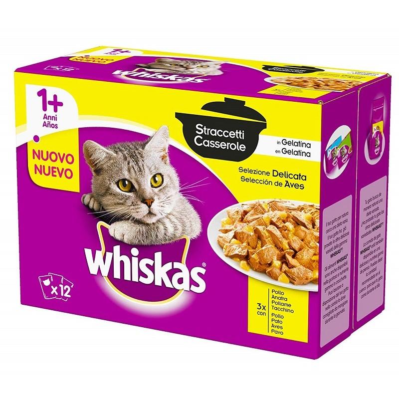 Whiskas Multipack 12 x 85 gr Straccetti Casserole in Gelatina Selezione Delicata per Gatti