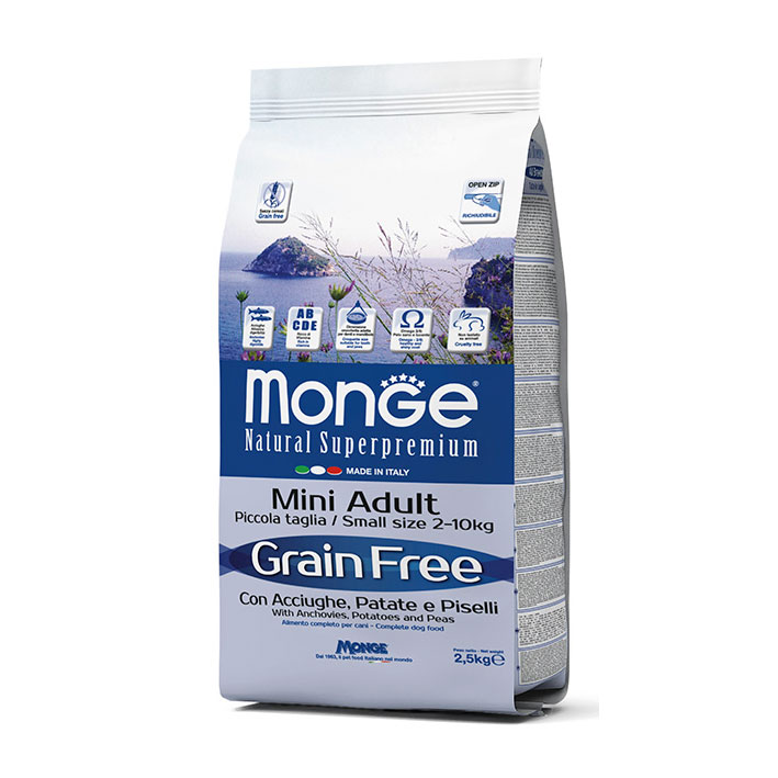 Monge Grain Free con Acciughe , Patate e Piselli - Mini Adult kg2,5