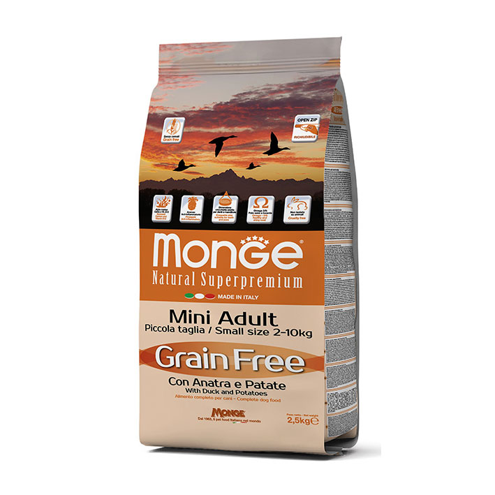 Monge Grain Free con Anatra e Patate - Mini Adult kg2,5