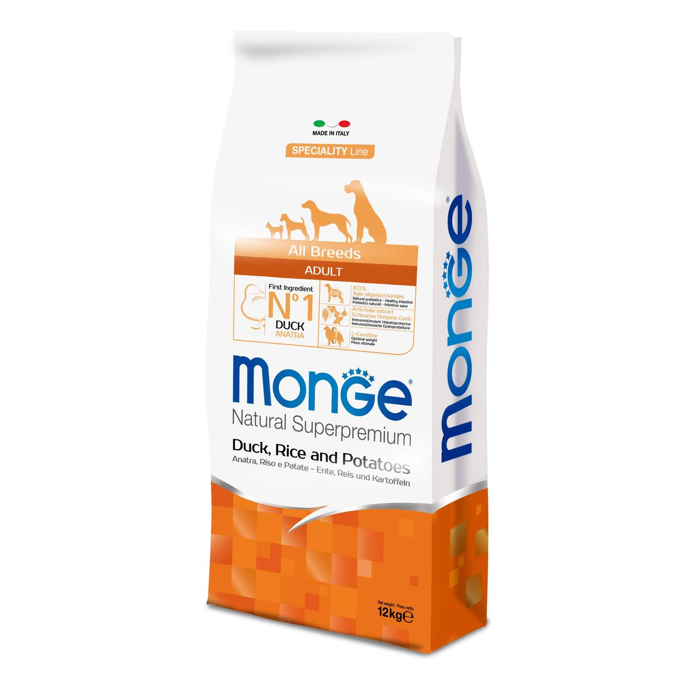 Monge DOG All Breeds Adult Anatra, Riso e Patate kg12