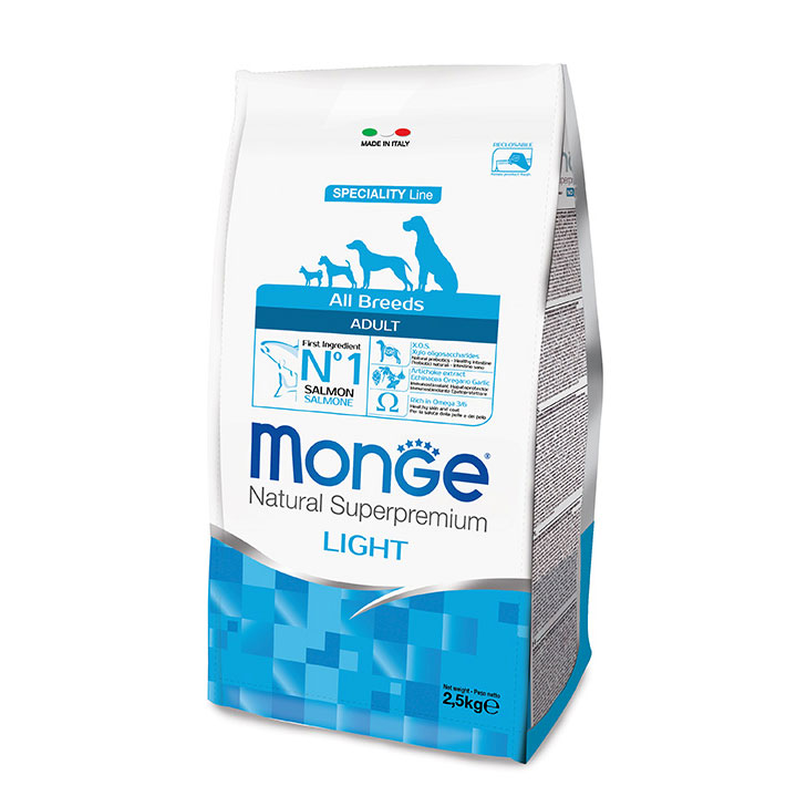 MONGE All Breeds Adult Light Salmone e Riso kg2,5