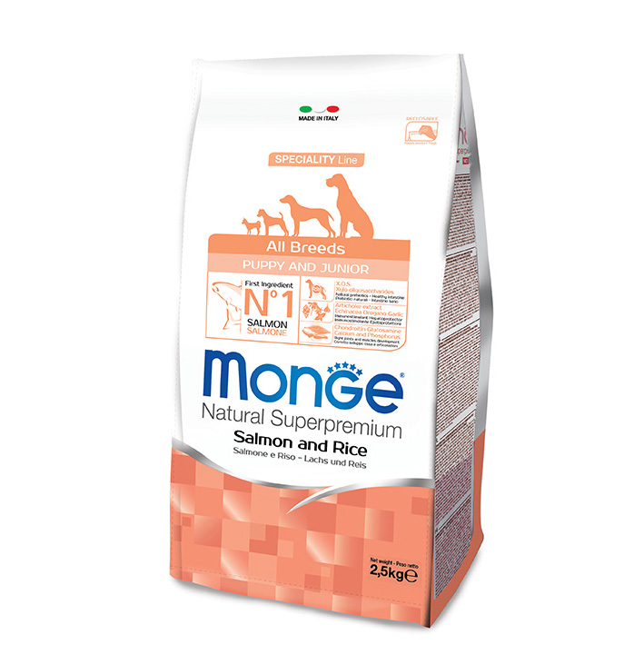 MONGE All Breeds Puppy & Junior Salmone e Riso KG12