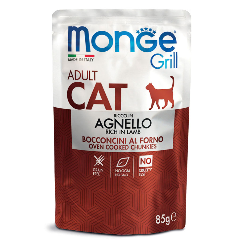 Monge Grill CAT ADULT Bocconcini in Jelly Ricco in Agnello gr85
