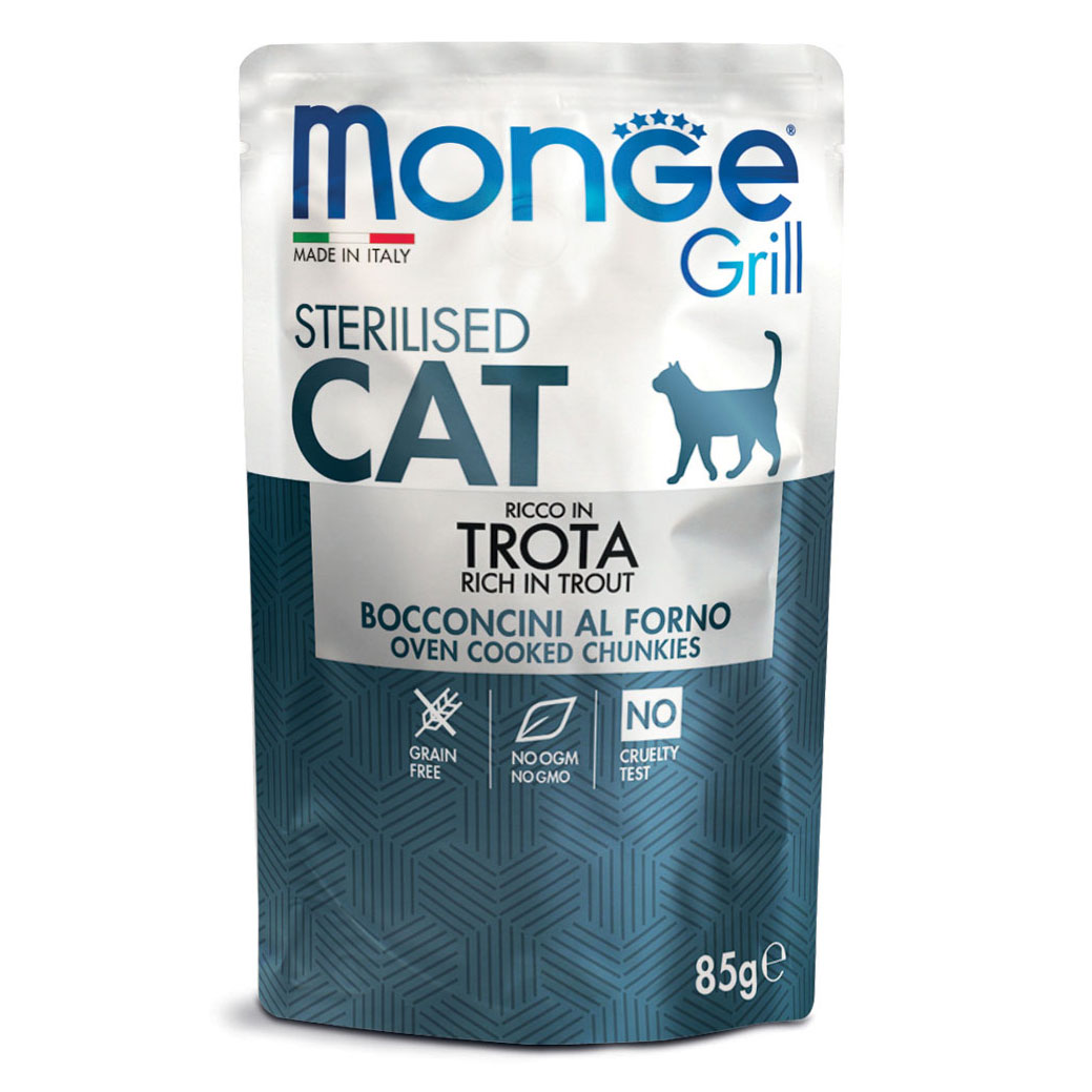 Monge Grill CAT STERILISED Bocconcini in Jelly Ricco in Trota gr85