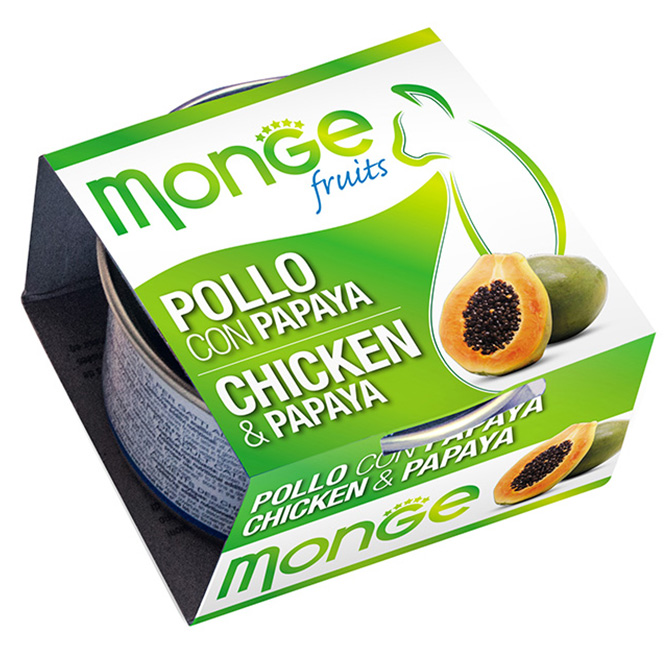 MONGE FRUITS POLLO CON PAPAYA GR80