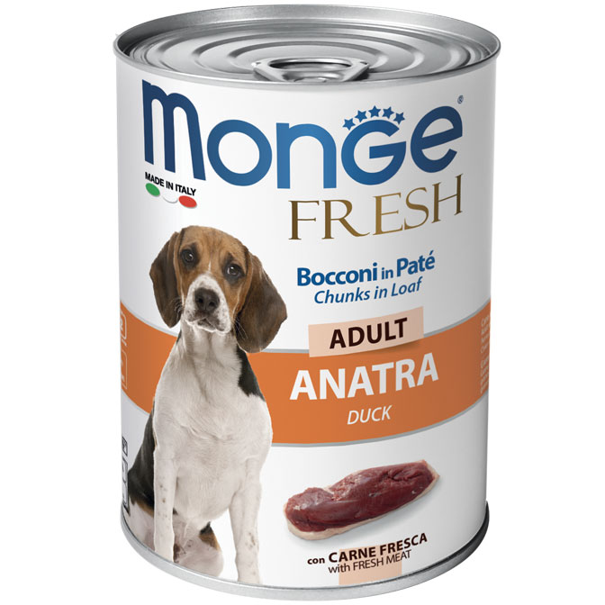 Monge FRESH lattina 40gr Bocconi in Paté con Anatra Adult
