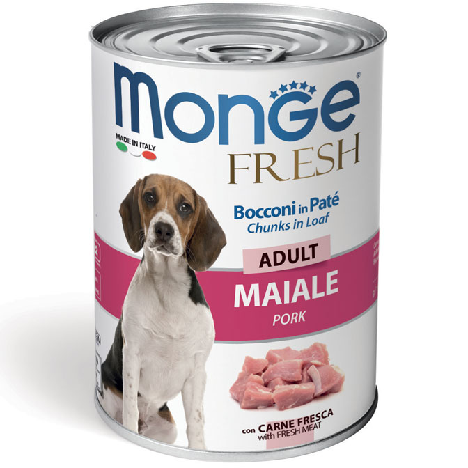 Monge FRESH lattina 40gr Bocconi in Paté con Maiale Adult