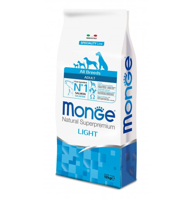 MONGE All Breeds Adult Light Salmone e Riso kg12
