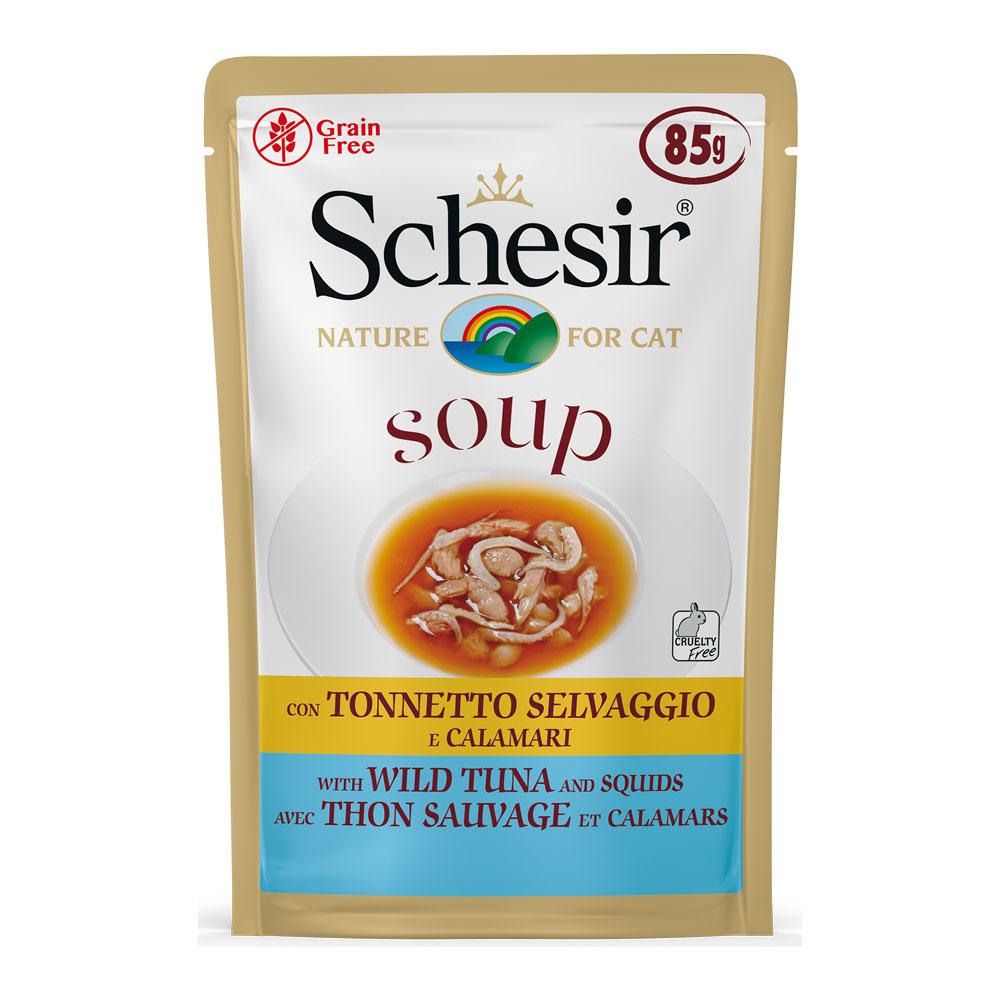 Schesir SOUP Cat Con Tonnetto Selvaggio e Calamari gr85