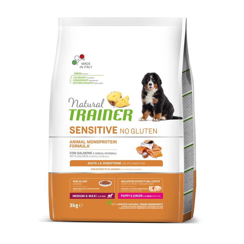 Natural Trainer Sensitive No Gluten Medium&Maxi Puppy&Junior con Salmone kg3