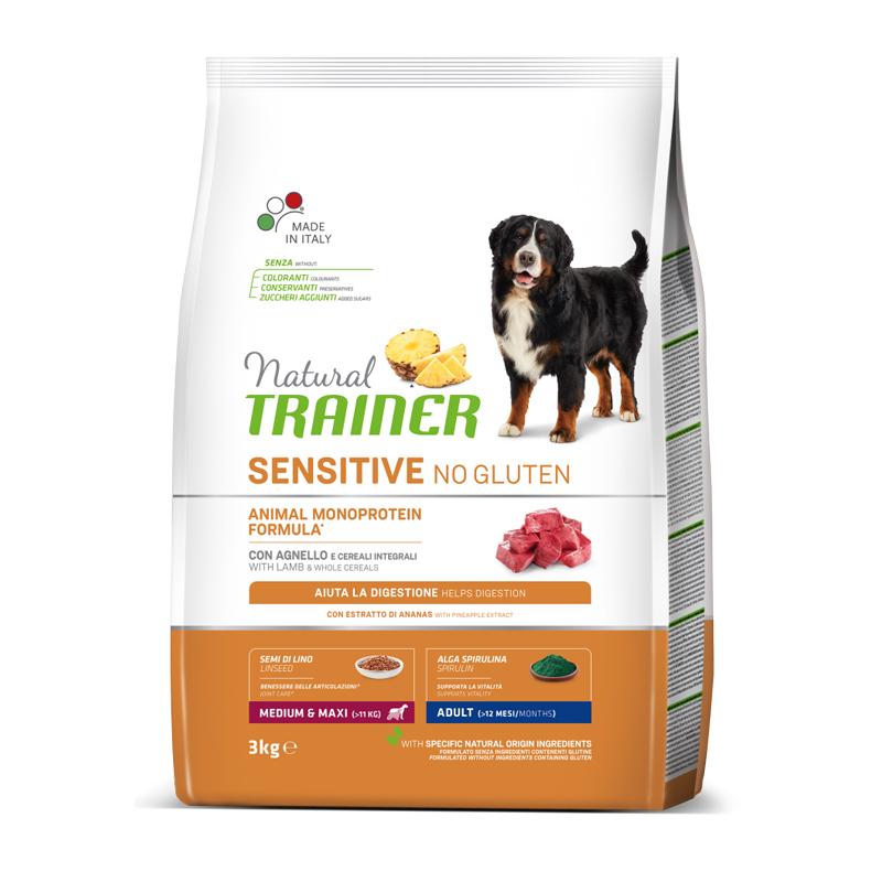 Natural Trainer Sensitive No Gluten Medium&Maxi Adult con Agnello kg3