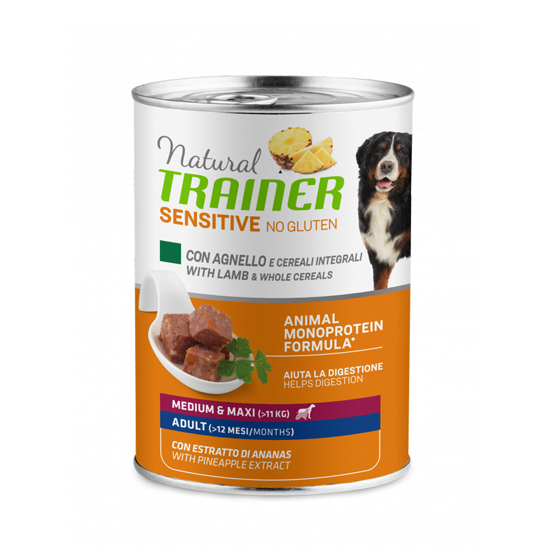 Natural Trainer Sensitive No Gluten Medium&Maxi Adult con agnello e cereali integrali gr400