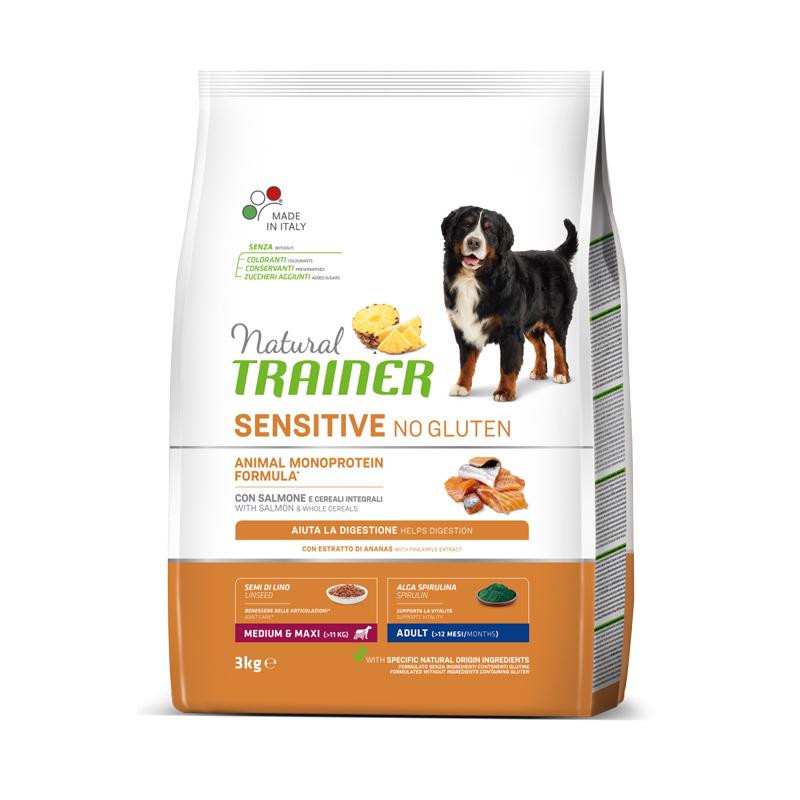 Natural Trainer Sensitive No Gluten Medium&Maxi Adult con Salmone kg3