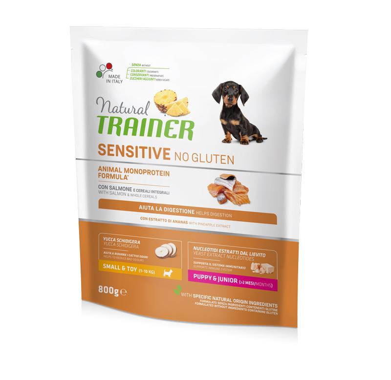 Natural Trainer Sensitive No Gluten Mini Puppy&Junior con Salmone gr800