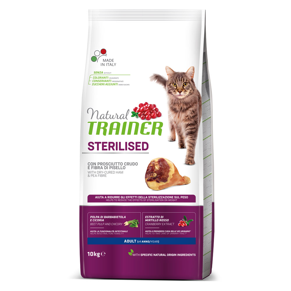Natural TRAINER CAT Sterilised Adult con Prosciutto kg10