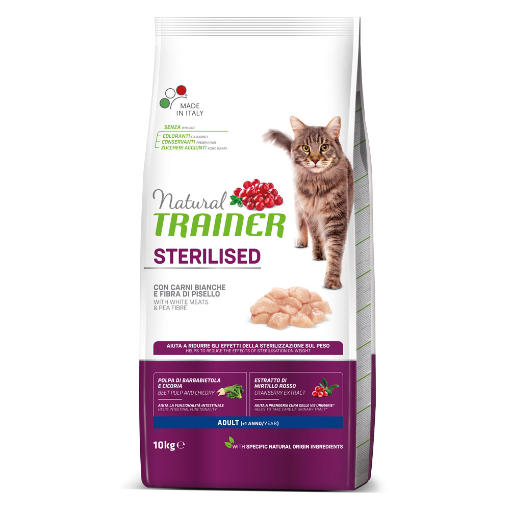 Natural TRAINER CAT Sterilised Adult con Carni Bianche kg10