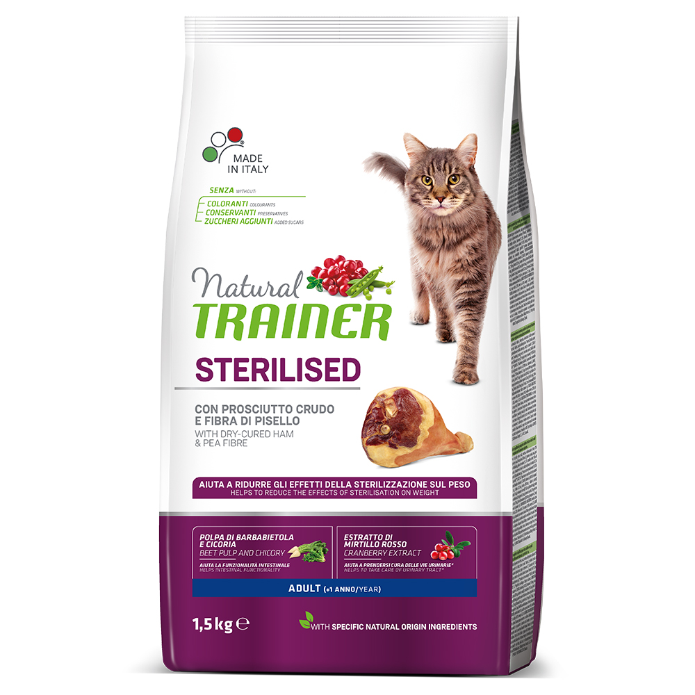 Natural TRAINER CAT Sterilised Adult con Prosciutto kg1,5