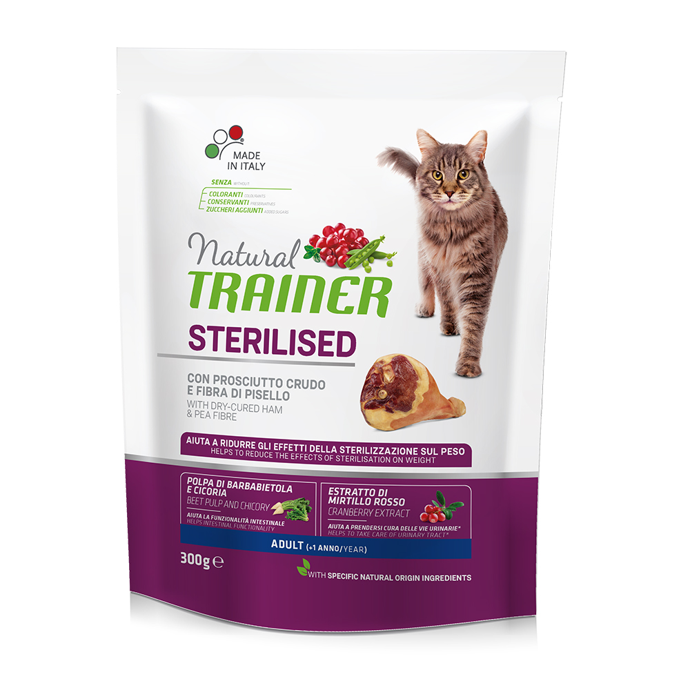 Natural TRAINER CAT Sterilised Adult con Prosciutto gr300