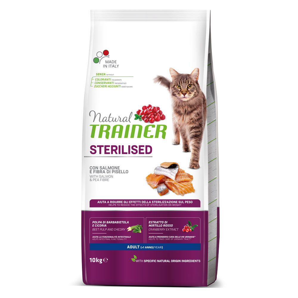 Natural TRAINER CAT Sterilised Adult con Salmone kg10