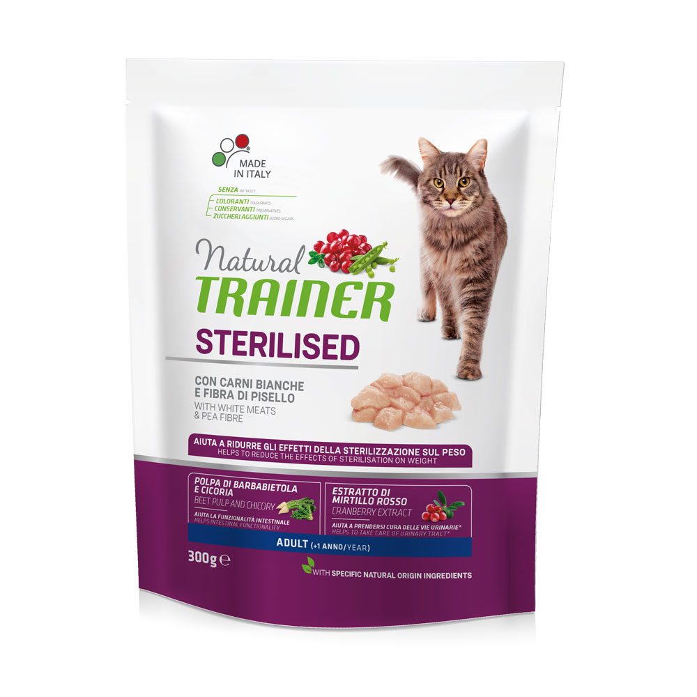 Natural TRAINER CAT Sterilised Adult con Carni Bianche gr300
